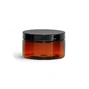 2 OZ Amber Jar With Black Cap