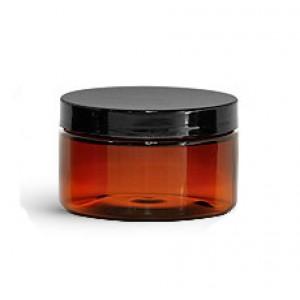 4 Oz Amber Jar With Black Cap (120 ml)